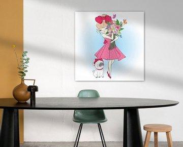 Mädchen mit Blumen und Mops von Atelier Liesjes
