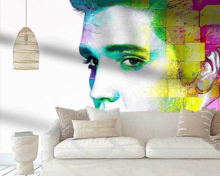Beispiel fototapete: Elvis Presley Abstraktes modernes Porträt in Blau, Gelb, Rosa von Art By Dominic