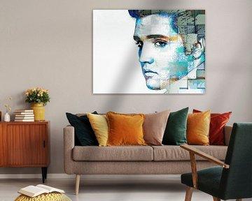 Elvis Presley Abstraktes modernes Porträt in Blau, Orange, Grau von Art By Dominic