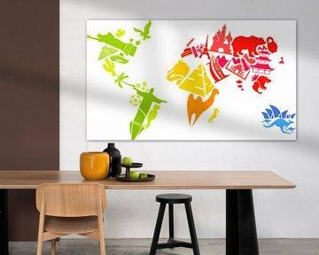 Wereldkaart, vrolijk creatief met lokale afbeeldingen van Atelier Liesjes
