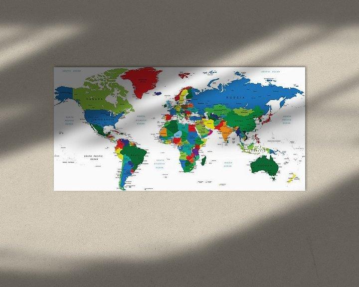 Impression: Carte du monde en couleur avec tous les pays sur Atelier Liesjes