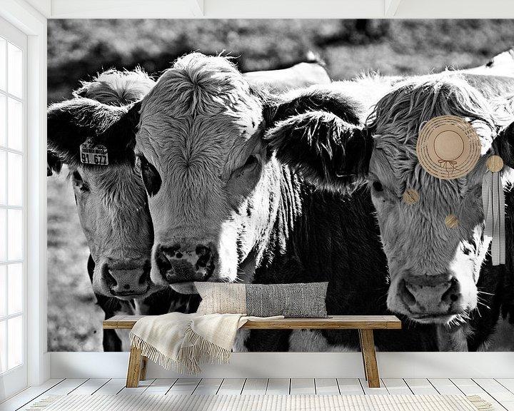 Beispiel fototapete: Drei Kühe in schwarz-weiß von Atelier Liesjes
