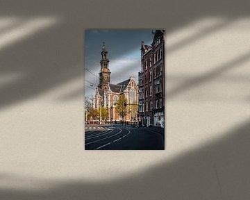 Raadhuisstraat met Westerkerk, Amsterdam, Nederland van Lorena Cirstea
