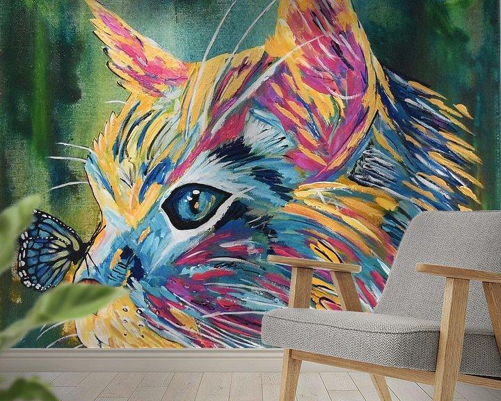 Beispiel fototapete: Katze und Schmetterling von Kathleen Artist Fine Art