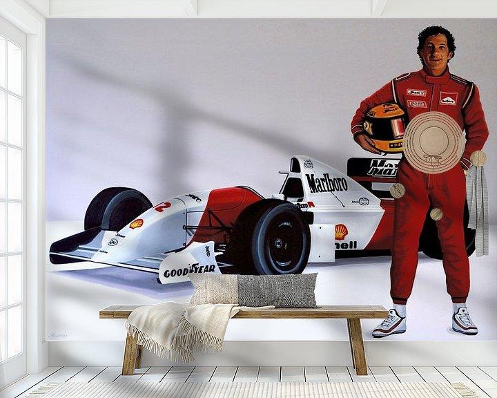 Sfeerimpressie behang: Ayrton Senna schilderij van Paul Meijering