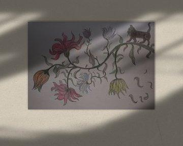 Bleistiftzeichnung eines märchenhaften Blütenzweigs mit Kätzchen von Breezy Photography and Design