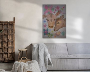 Bleistiftzeichnung von zwei Kälbern, umgeben von Blumen von Breezy Photography and Design