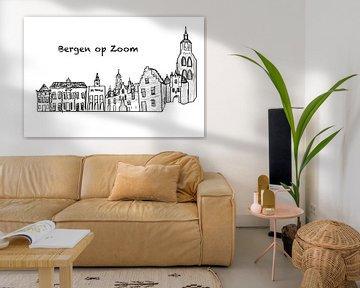 Skyline van Bergen op Zoom van MishMash van Heukelom