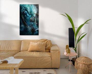 Poseidon, der Gott des Meeres, greift ein Segelschiff an von Atelier Liesjes