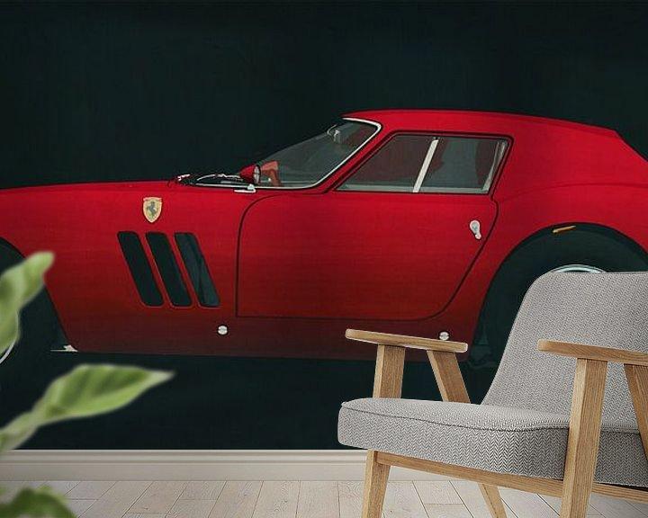 Sfeerimpressie behang: Ferrari 250 GTO 1964 zijaanzicht van Jan Keteleer