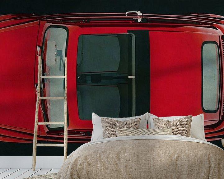 Sfeerimpressie behang: Fiat Abarth 595 1968 bovenaanzicht van Jan Keteleer