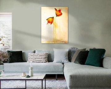 Zwei gelbrote Mohnblumen von Klaus Heidecker