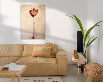 Rote Mohnblume mit Phantasiefarbe von Klaus Heidecker