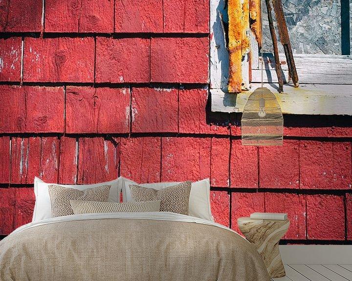 Sfeerimpressie behang: Close up van houten schuur van Arie Storm