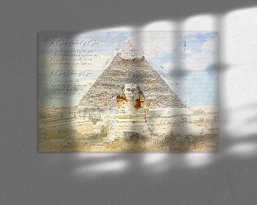Grote Sfinx van Gizeh + Sfinx, Egypte van Theodor Decker