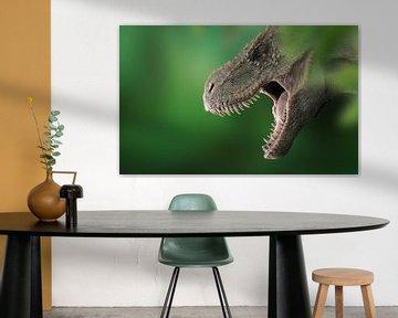 T-Rex-Kopf im Wald