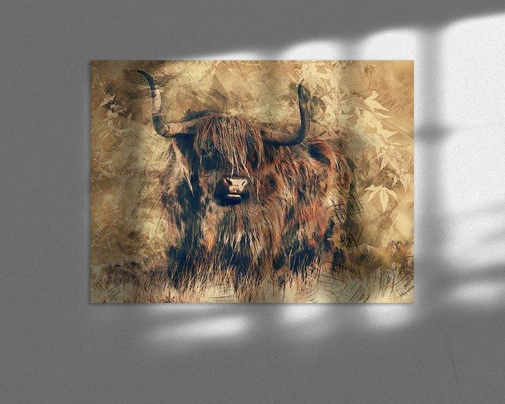 Beispiel: Highlander-Rindfleisch in der modernen Kunst von Atelier Liesjes
