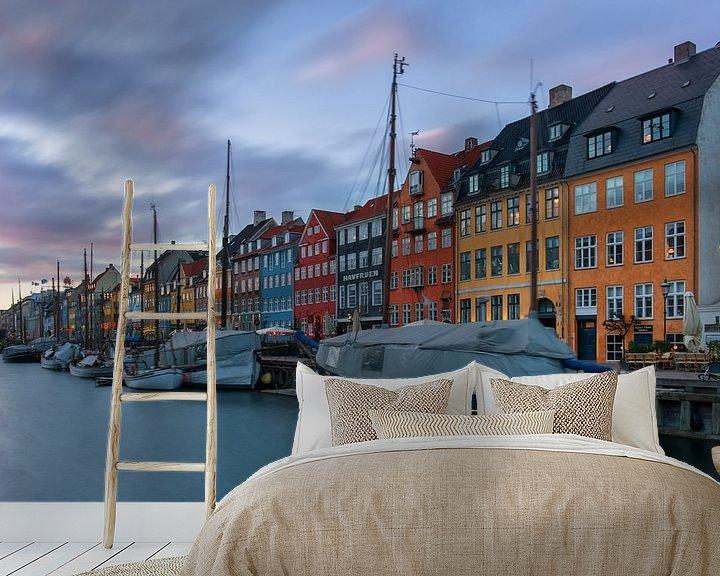 Sfeerimpressie behang: de haven van Kopenhagen van Robin van Maanen