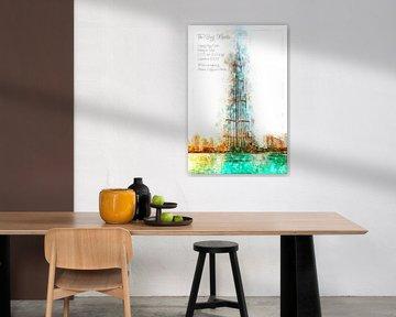 Burj Khalifa aquarel, Dubai van Theodor Decker