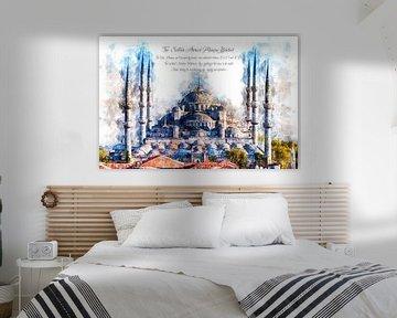 Blauwe Moskee, Waterverf, Istanboel van Theodor Decker