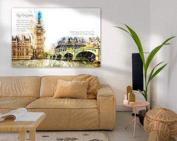 Big Ben, aquarel, Londen van Theodor Decker
