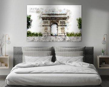 Arc de Triomphe, Waterverf, Parijs van Theodor Decker