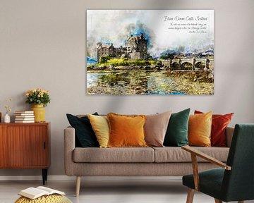 Eilean Donan Castle, Waterverf, Schotland van Theodor Decker