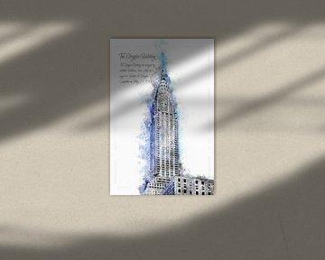 Chrysler Building, Watercolor, New York van Theodor Decker