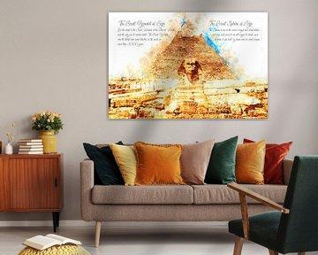 Cheops Piramide en Sfinx, Waterverf, Gizeh van Theodor Decker