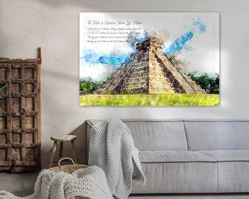 Maya-piramide, aquarel, Mexico van Theodor Decker