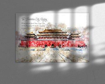 Verboden stad, aquarel, Beijing van Theodor Decker