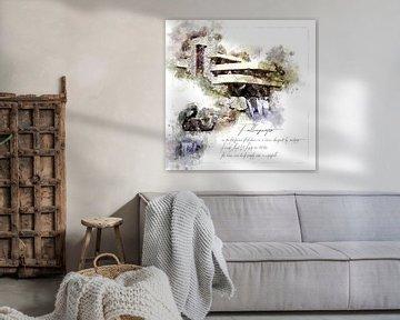 Fallingwater, aquarel, Frank Lloyd Wright, van Theodor Decker
