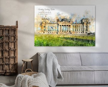 Reichstag, aquarel, Berlijn van Theodor Decker