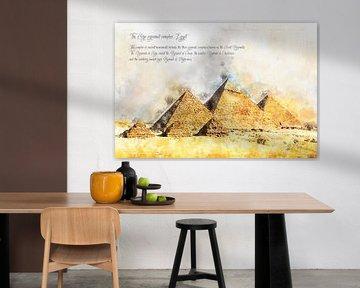 Piramides van Gizeh, Waterverf, Egypte van Theodor Decker
