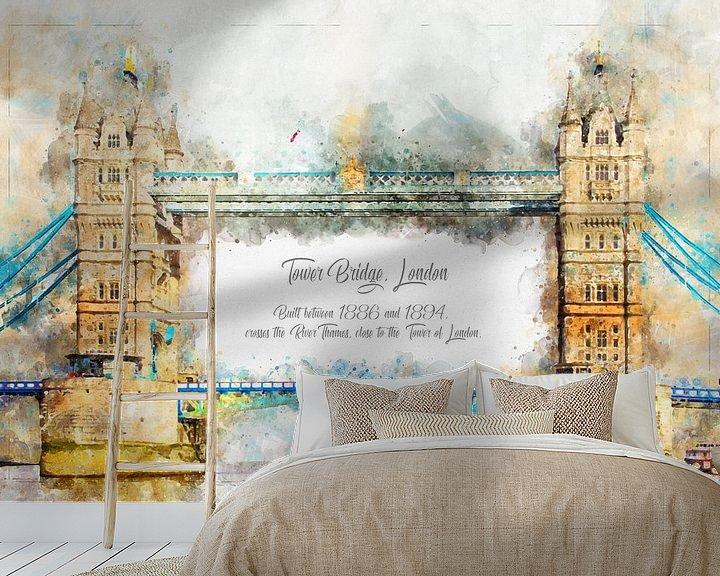 Beispiel fototapete: Tower Bridge, Aquarell, London von Theodor Decker