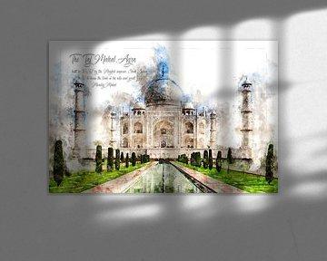 Taj Mahal, Waterverf, Agra India van Theodor Decker