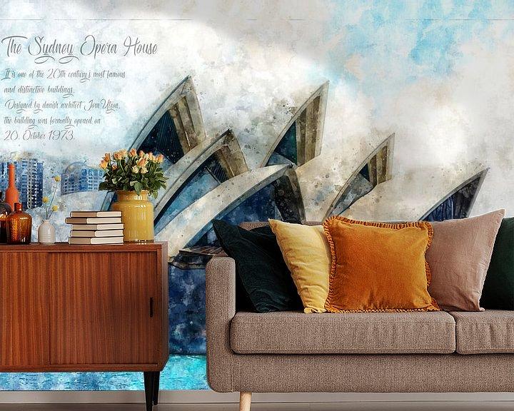 Beispiel fototapete: Oper Sydney, Aquarell, Australien von Theodor Decker
