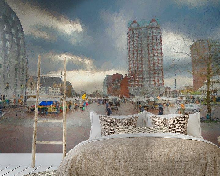 Sfeerimpressie behang: Marktplein Rotterdam van Leo Luijten