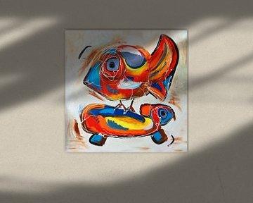 Vrolijk Cobra stijl werk van een vogel en een schilpad van Nicole Habets