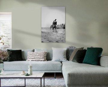 Racepaard rennend in zwart wit van Dieuwertje Van der Stoep