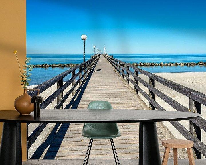 Sfeerimpressie behang: Pier aan de Oostzeekust in Wustrow op de Fischland-Darß van Rico Ködder