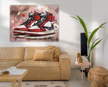 Nike Air Jordan 1 retro high Chicago Travis Scott Gemälde. von Jos Hoppenbrouwers