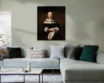 Bildnis einer Dame mit Straußenfederfächer, Rembrandt van Rijn
