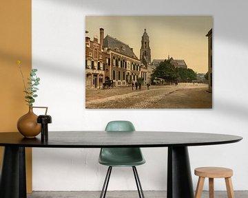 Großer Markt in Arnheim, altes Foto von 1890-1900
