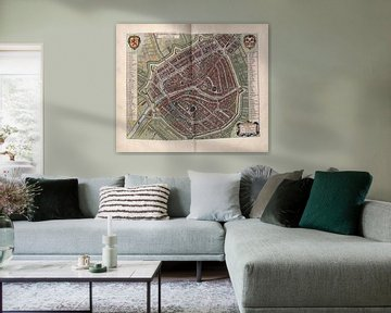 Leiden, Stadsplattegrond Joan Blaeu 1652 van Atelier Liesjes
