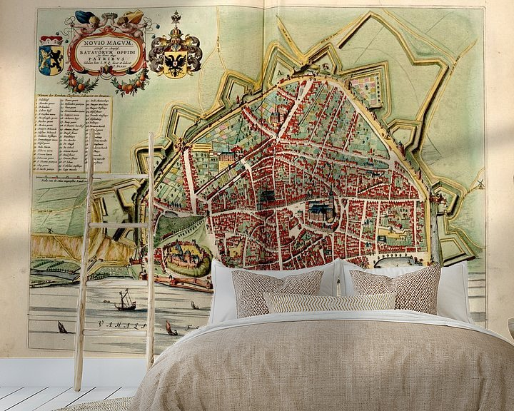 Beispiel fototapete: Nimwegen, Stadtplan Joan Blaeu 1652 von Atelier Liesjes