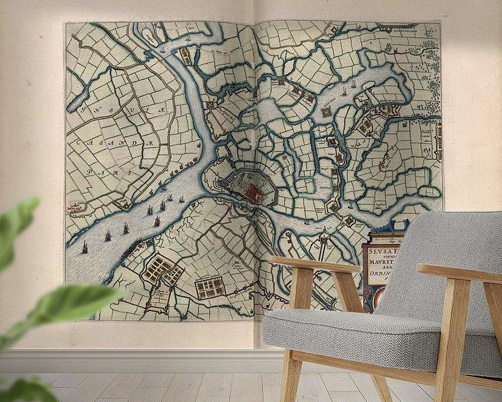 Beispiel fototapete: Schleuse, Stadtplan Joan Blaeu 1652 von Atelier Liesjes