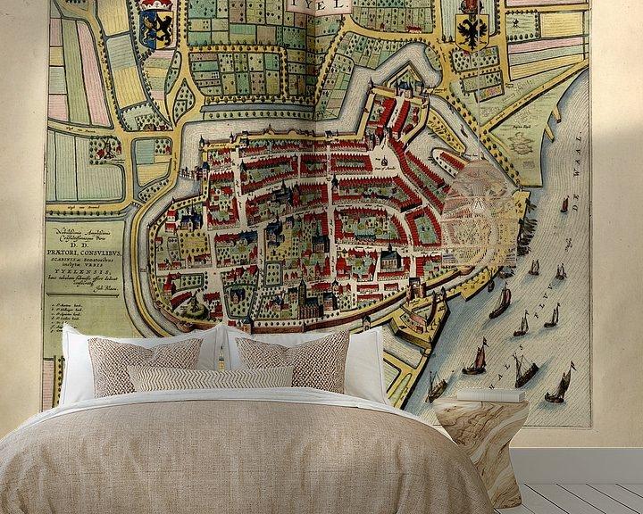 Beispiel fototapete: Tiel, Stadtplan Joan Blaeu 1652 von Atelier Liesjes