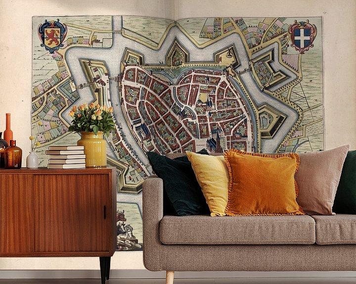 Beispiel fototapete: Zwolle, Stadtplan Joan Blaeu 1652 von Atelier Liesjes