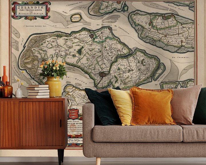 Beispiel fototapete: Feuerstellen Duiveland, Tholen und Noord Beveland, Karte Joan Blaeu von Atelier Liesjes
